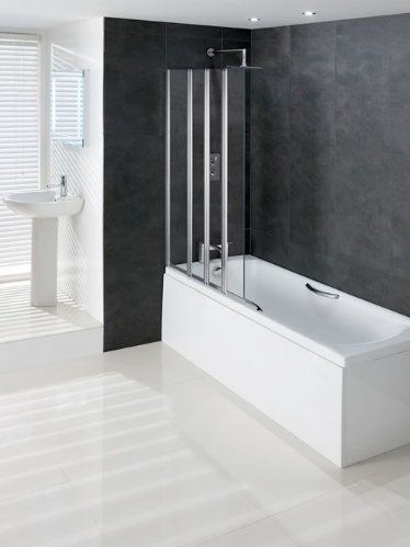 Eastbrook Volente 1000mm 1 Fixed & 3 Folding Panel Bath Screen LH or RH